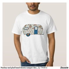 Paisley and plad hand drawn camper design t-shirt