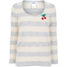 SONIA BY SONIA RYKIEL Knit stripe cherry badge jumper ($110) found on Polyvore featuring women's fashion, tops, sweaters, shirts, stripe sweater, striped sweater, long sleeve cotton shirts, cotton sweaters and long sleeve shirts