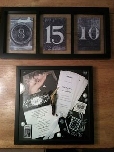 My first Pinterest project! Shadowbox with our wedding invitation with our photo stamp, ceremony program, wedding favor, a photo, and Kev's boutonniere. Our wedding date above. Love it & can't wait to hang it up!