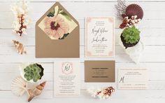 Bohemian Beach Calligraphy Wedding Invitations