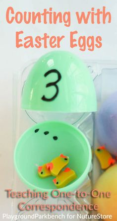 Teaching One-to-One Correspondence counting activity for toddlers. A simple Easter-themed counting game using plastic Easter eggs and small parts for your toddler or preschooler. | Easter | Counting | 123s | Toddler | Preschool | Fine Motor Skills