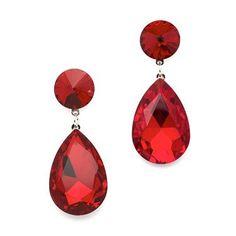 Pear-shaped Drop Earrings - Red