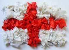 Make St George's Day Flag Collage - you just need red tissue, white tissue and PVA - all available at www. St George Flag, St George S Day, Saint George, Toddler Crafts, Crafts For Kids, Patron Saint Of England, Saint David's Day, Eyfs Activities, Queen Birthday