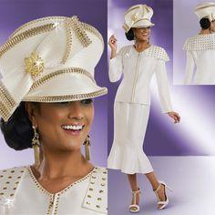 "Donna Vinci 11522 Colors: Off White/Gold Jacket Length: 25"" Skirt Length: 30"" Sizes: 8, 10, 12, 14, 16, 18, 20, 22 Matching Hat Donna Vinci 11522H http://www.divasdenfashion.com/Donna-Vinci-11522-p/don-11522.htm #DivasDenFashion #DonnaVinci #Spring"