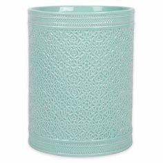 Blue Ceramic Wastebasket Aqua-Colored Artisan Bathroom Decor Trash Can Waste Bin #Santiago