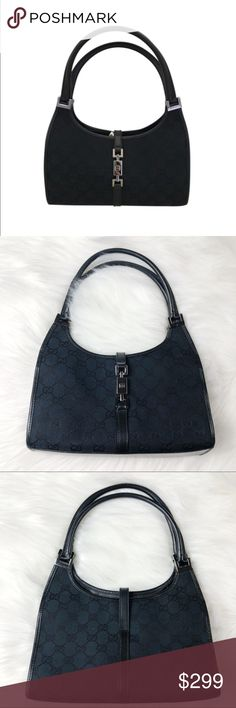 """Gucci Monogram Bardot Black Canvas & Leather Hobo Gucci Monogram Bardot Black Canvas & Leather Hobo   🌺100% Authentic Classic  🌺Signature Logo Canvas  🌺Leather Trim with Silver Hardware Accents  🌺Gucci symbol on the front fastener  🌺Great evening bag!  🌺Great pre loved condition with minimal signs of wear. See pics for detail. very minor scratches on the buckles and bottom of the purse, hard to see unless you look very hard! Only used 2 or 3 times..  🌺#00721-002404 🌺Dimensions 9"""" H…"""