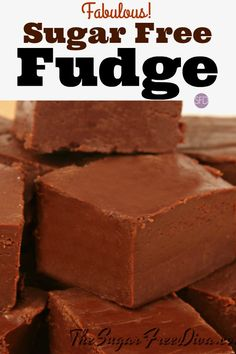 Enjoy this Fabulous Sugar Free Fudge recipe that is simple to make as well. This fudge is delicious and it has not added sugar to the recipe. Sugar Free Fudge, Sugar Free Deserts, Sugar Free Baking, Sugar Free Sweets, Sugar Free Candy, Sugar Free Chocolate, Sugar Free Recipes, Chocolate Fudge, Chocolate Muffins
