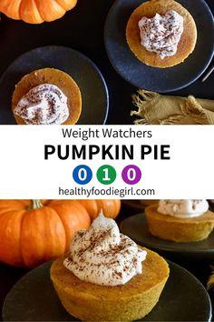 Weight Watcher Cookies, Weight Watchers Muffins, Weight Watchers Pumpkin, Weight Watchers Meal Plans, Weight Watchers Desserts, Ww Pumpkin Pie Recipe, Canned Pumpkin Recipes, Healthy Pumpkin Pies, Sugar Free Pumpkin Pie