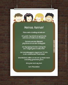 Free invitation to school – Invitation 2020 Teacher Cards, Birthday Invitations, Free Printables, Children, Kids, Kindergarten, Templates, Frame, Creative