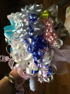 Save the ribbons from the bridal shower to make a bouquet to use for the rehearsal dinner! Wedding Rehearsal Bouquet, Bridal Shower Bouquet, Bridal Shower Centerpieces, Bridal Shower Gifts, Ribbon Bouquet, Making A Bouquet, Wedding Crafts, Wedding Ideas, Diy Ribbon