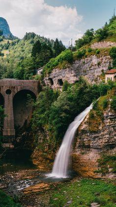 Waterfall, precipice, current, bridge, 720x1280 wallpaper