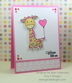 The Gina K Designs Products I used to create this card project are:  - Genevieve Giraffe stamp set by Beth Silaika for Gina K Designs - Card stock in Bubblegum Pink and 80 lb Layering Weight White Color Companions ink in Bubblegum and Black OnyxWelcome Little One
