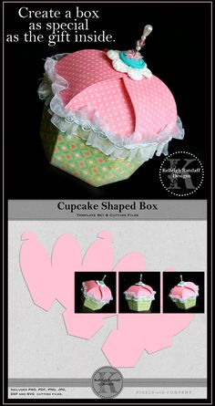 Cupcake Shaped Papercraft Box Template | Kelleigh Ratzlaff Designs