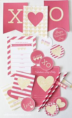 Red & Gold Valentine's printables pack!  53 pieces including invitations, cupcake toppers, pennant banners, water bottle labels, and tons more!