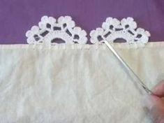 Lace # 13 one turn - Knitting Crochet Edging Patterns, Crochet Lace Edging, Crochet Borders, Crochet Designs, Crochet Flowers, Beau Crochet, Chunky Crochet, Sewing Stitches, Crochet Stitches