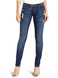 7 For All Mankind Womens Roxanne Slim Fit Jean in Distressed Starry Night