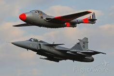 Photo of de Havilland Vampire (ZU-DFH) and Saab Gripen ✈ FlightAware Fighter Aircraft, Fighter Jets, De Havilland Vampire, South African Air Force, F14 Tomcat, Red Arrow, Korean War, North Africa, Military Aircraft