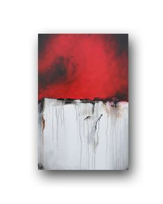 Red Painting Original Abstract Painting Black and White Brown Painting on Canvas Contemporary Painting Modern Art 36x24 by Heather Day on Etsy, $275.00
