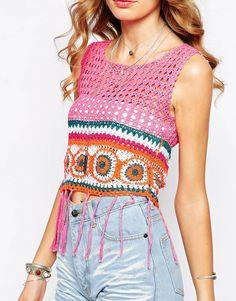 crochelinhasagulhas: Blusa rosa com square com em franjas