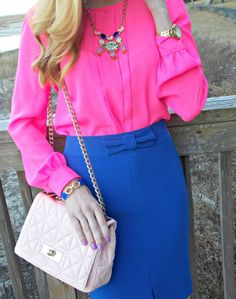 Pink Champagne: Pink and Blue. Wearing J.Crew, Banana Republic, Kate Spade, and Pink Bubbly. #streetstyle #fashionblogger #neon #colorful