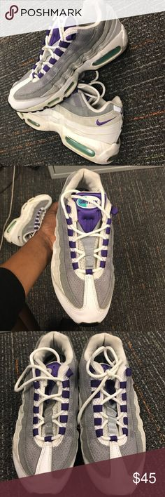 Women's Air max 95s Women's Gray white purple and teal Air max 95s. One of the original color schemes. Used. Nike Shoes Sneakers
