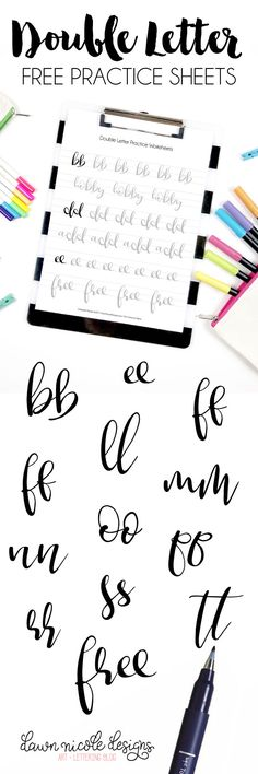 Double-Letter Free Brush Calligraphy Practice Worksheets. Get your brush calligraphy practice on with these double-letter practice sheets!  Double-Letter Free Brush Calligraphy Practice Worksheets One