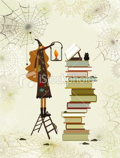 Halloween witch's library Royalty Free Stock Vector Art Illustration