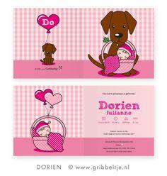 Geboortekaartje met hond (bruine labrador) - Birth announcement with dog (brown labrador) * Made by Gribbeltje *