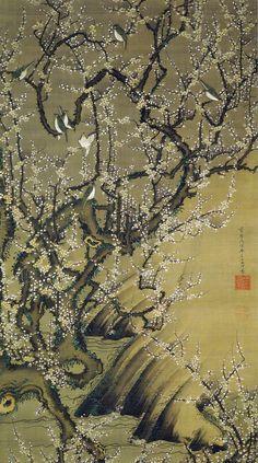 伊藤若冲 Ito Jakuchu/02 梅花小禽図 Baika Shokin-zu (Plum Blossoms and Small Birds)