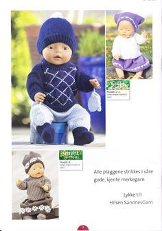 Albumarkiv Knitted Doll Patterns, Knitted Dolls, Baby Born Clothes, Stuffed Toys Patterns, Doll Toys, Doll Clothes, Diy And Crafts, Crochet Hats, Album