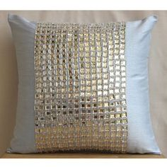 Decorative Throw Pillow Covers Accent Couch Pillow 20 Inch Silk Pillow Crystal Embroidered Sofa Toss Bedroom Sky Pillows Home Decor - Bling Glam Pillows, Modern Throw Pillows, Diy Pillows, Toss Pillows, Decorative Throw Pillows, Square Pillow Covers, Blue Cushion Covers, Throw Pillow Covers, Blue Cushions