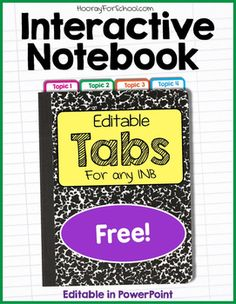 Free download! Editable Interactive Notebook Tabs - side and top, fold-over style. These tabs attach on both sides of the paper for extra durability. You can edit the text in PowerPoint. Or delete it it and have kids write the headings in.