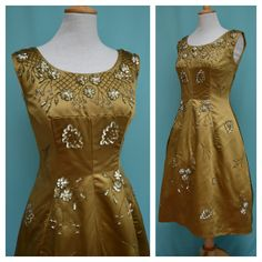 Vintage 1950s 1960s Cocktail Dress, Heavily beaded, Sequined,  50s/60s Short  Evening dress, Green, Antique gold Satin, Rockabilly,