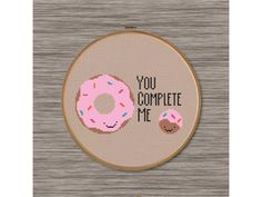 "PDF Cross Stitch Pattern: Donut Love - ""You Complete Me"""
