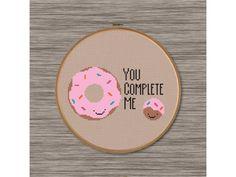 "PDF Cross Stitch Pattern: Donut Love - ""You Complete Me"""