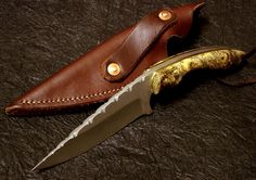 APU All Purpose Utility by Jacob Almendinger.  Good for many chores around the house. Handle has wider palm swells for greater surface. Drop point blade. Bead blasted finish. Nice file work. 4.3 inch blade, 8.75 inches overall.