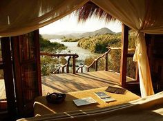 """Serra Cafema, Namibia. From Gaiam's """"5 African Safari Eco-Camps to Take Your Breath Away"""" http://blog.gaiam.com/blog/5-african-safari-eco-camps-to-take-your-breath-away/"""