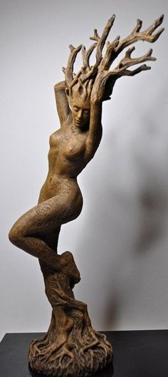 brown - woman tree - figurative sculpture - Michael Locascio - resin dryad statue, hand painted with wood finish Tree Carving, Wood Carving, Art Sculpture, Sculptures, Wassily Kandinsky, Tree Art, Oeuvre D'art, Wood Art, Amazing Art