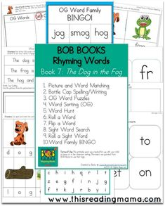 FREE Printables for BOB Books for Rhyming Words- Book  7 (OT Word Family) and Book 8 (OG Word Family) | This Reading Mama