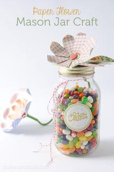 Paper Flower Mason Jar Craft Idea on polkadotchair.com