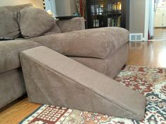 DIY Dog Ramp, I need to make one of these for Fiona, this lady made hers specifically for a dachshund and she had the genius idea of making it match her couch!