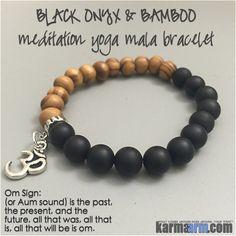MOVING FORWARD: Black Onyx • Bamboo • OM Yoga Mala Bead Charm Bracelet