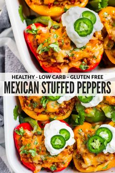 These easy, healthy Mexican Stuffed Peppers are filling, absolutely delicious and great for meal prep too. Colorful bell peppers stuffed with authentic Mexican spiced chicken or beef, rice, and cheese Mexican Stuffed Peppers, Stuffed Peppers Healthy, Stuffed Bell Peppers Turkey, Stuffed Peppers With Cheese, Filled Peppers Recipe, Recipe With Bell Peppers, Ground Chicken Stuffed Peppers, Recipes With Peppers, Black Beans