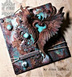 copper & teal - steampunk take on coral tone colour story Mixed Media Boxes, Mixed Media Canvas, Mixed Media Art, Steampunk Crafts, Steampunk Design, Altered Canvas, Mixed Media Scrapbooking, Mixed Media Journal, Mixed Media