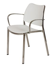 This White & Chrome Asta Armchair is perfect! #zulilyfinds