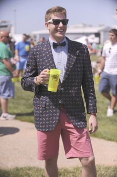 David Murtha sports shorts, a jacket and a bow tie with his button-down at Preakness 2012.
