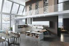 diamond backsplash - Kitchen Mezzanine Floor Also Massive Window Plus White . Architecture Building Design, Architecture Visualization, Modern Architecture, Loft Kitchen, Kitchen Units, Modern Interior, Interior Design, Arch Interior, Luxury Kitchen Design