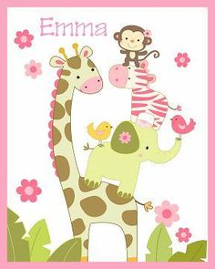 OMG THIS WOULD BE PERFECT!! JUNGLE JILL NURSERY ART #2  FOR BEDDING NEW PERSONALIZED 8X10 -- ebay