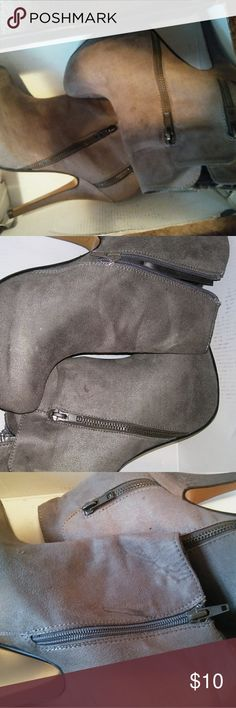 Gray Ankle Booties Gray booties with heel that adds style. Only worn once. In great condition!! logan Shoes Ankle Boots & Booties