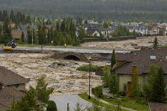 Cougar Creek takes out Eagle Terrace Road and breaches Elk Run Boulevard Bridge. Over The Bridge, Tsunami, Calgary, Climate Change, Terrace, John Gibson, Canada, Backyard, Mansions